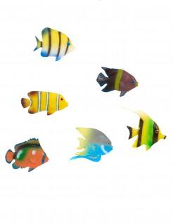 Tropen-Fische Party-Deko 6 Stück bunt 5cm