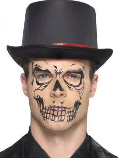 Skelett-Tattoo Gesichtstattoo schwarz