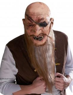 Alter Mann Piraten Latexmaske mit Bart