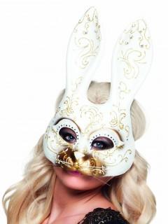 Venezianische Maske Halbmaske Hase weiss-gold