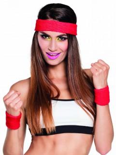 Sport-Set Schweißbänder 80er Jahre Strinband und Armbänder 3-teilig rot