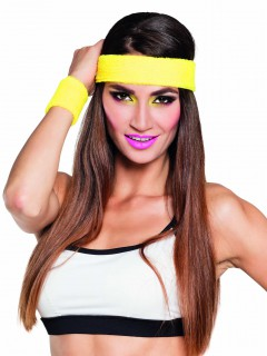 Sport-Set Schweissbänder 80er Jahre Stirnband und Armbänder 3-teilig gelb