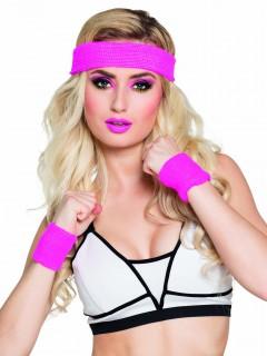 80er-Fitness-Accessoires Schweissarmbänder und Stirnband pink