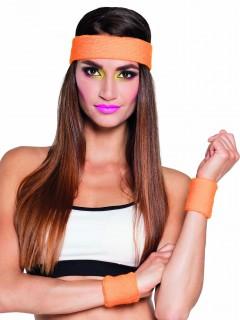 Sport-Set Schweißbänder 80er Jahre Strinband und Armbänder 3-teilig orange