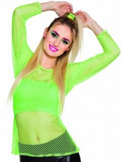 Damen 80er Netz-Shirt neongrün