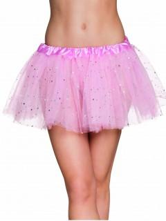 Süßer Tüllrock Fee Tutu mit Sternchen für Damen rosa-silber