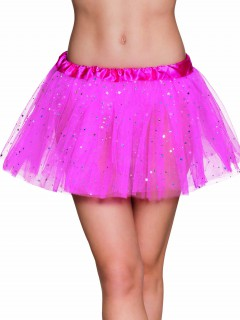Süßer Tüllrock Fee Tutu mit Sternchen für Damen pink-silber