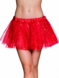 Süßer Tüllrock Fee Tutu mit Sternchen für Damen rot-silber