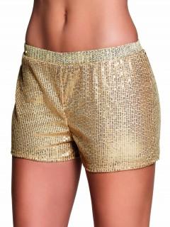 Pailletten-Shorts für Damen gold