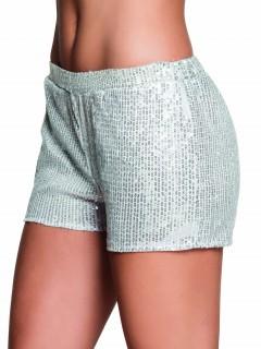 Pailletten-Shorts für Damen silber