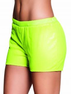 Pailetten Shorts Hotpants für Damen neongelb