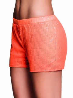 Pailetten Shorts Hotpants für Damen neonorange