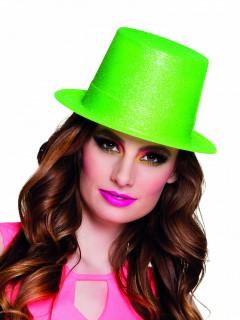 Glitzer Zylinder Party Hut für Erwachsene neongrün