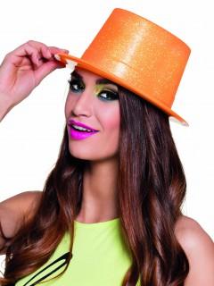 Glitzer Zylinder Party Hut für Erwachsene neonorange