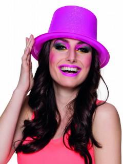Zylinder für Damen fluoreszierend Accessoire pink