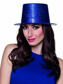 Glitzer Zylinder Party Hut für Erwachsene blau