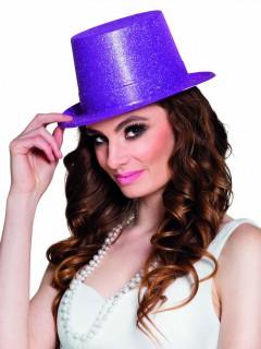 Glitzer Zylinder Party Hut für Erwachsene lila