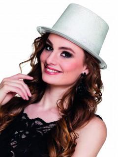 Glitzer Zylinder Party Hut für Erwachsene weiss