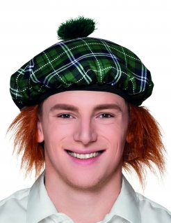 Schotte Barett-Mütze mit Haaren für Erwachsene grün-orange