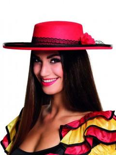 Damenhut spanische Tänzerin rot-schwarz