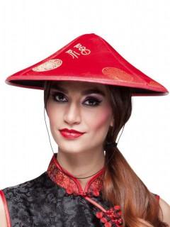 China Hut Asien für Erwachsene rot-gold