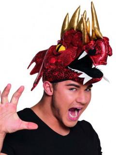 Drachen Hut chinesischer Drachen für Erwachsene rot-gold-schwarz