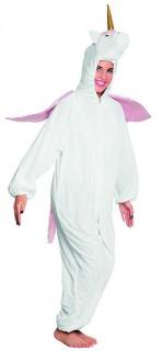 Süßes Einhorn Kostüm Jumpsuit Overall aus Plüsch für Teenies weiss-rosa