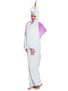 Süßes Einhorn Kostüm Jumpsuit Overall für Erwachsene weiss-rosa