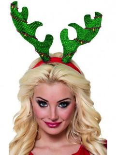 Weihnachtlicher Haarreif Rentier grün-rot-gold