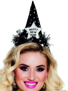 Mini Party Hut Happy New Year für Erwachsene schwarz-silber