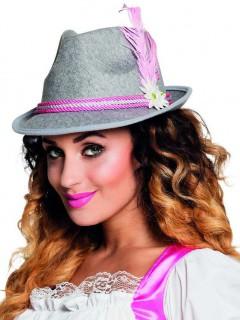 Trachten Hut Bayern für Damen grau-rosa