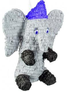 Piñata Elefant Party Zubehör schwarz-schwarz-blau 52x43cm