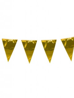 Fahnen Girlande Wimpelkette gold 10m
