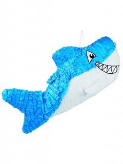 Haifisch Piñata blau-weiss 27x60cm