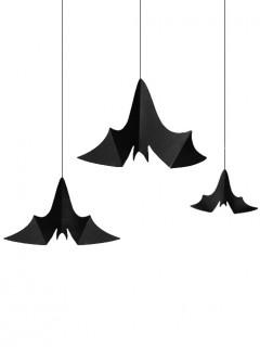 Deko-Fledermäuse Halloween-Hängedeko 3 Stück schwarz