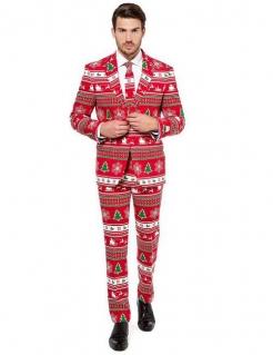 Opposuits Muster Weihnachtsanzug für Herren rot-grün-weiss