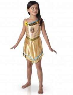 Pocahontas-Kostüm für Mädchen hautfarben mit Gold