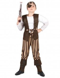 Muskulöser Pirat Kinderkostüm für Jungen braun-beige-weiss