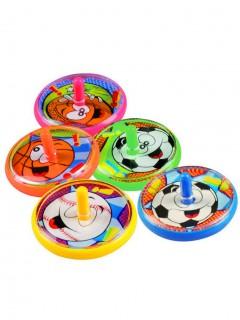 Kreisel mit Ballmotiven 5 Stück bunt 4cm