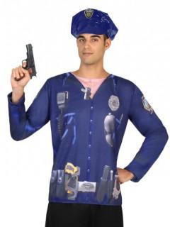 T-Shirt Polizist für Herren blau