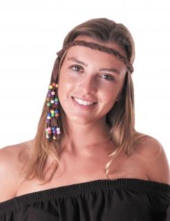 Hippie Stirnband mit Perlen 70er braun-bunt