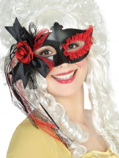 Maske mit Spitze und Rose schwarz-rot