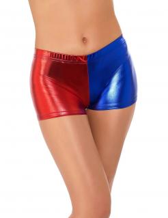 Kurze Harlekin-Damenshorts rot-blau
