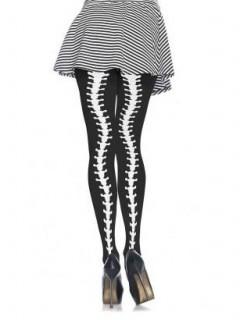 Wirbelsäule Halloween-Strumpfhose schwarz-weiss
