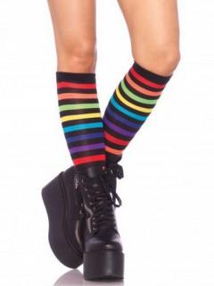 Erwachsenen Kniestrümpfe Regenbogenfarben schwarz/bunt