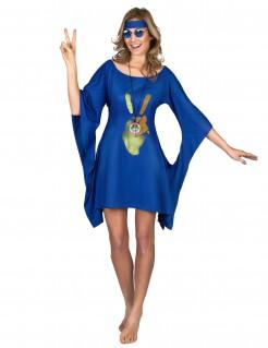 Hippie Damenkostüm mit Peace-Zeichen blau-grün-braun