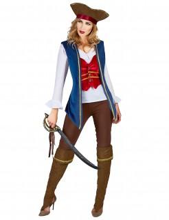 Anmutige Piratin-Damenkostüm Freibeuterin blau-rot-weiss