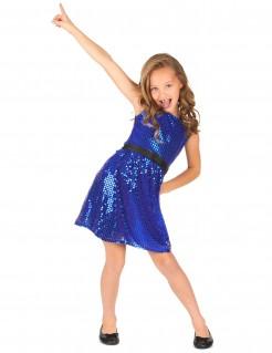 Kinder-Discokleid mit Pailletten und Schleife blau-schwarz