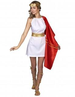 Römerin Damenkostüm Antike rot-weiß-gold