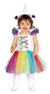 Niedliches Regenbogen-Einhorn Babykostüm bunt